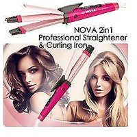 2 In 1 Hair Curler And Straightener With Free Mini Full Body Massager - 73392630