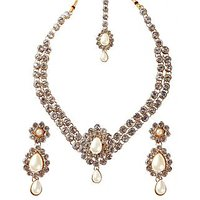 Kriaa Gold Plated White Necklace Set With Maang Tikka - 1102320