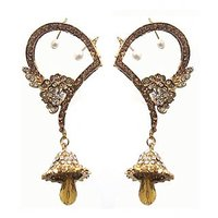 Kriaa Floral Design Earring In Yellow  -  1300504