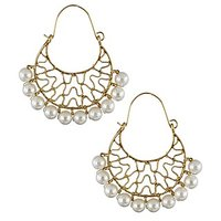The Jewelbox Gold Plated Delicate Large Filigree Pearl Bali Earring