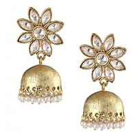 The Jewelbox Delicate Kundan Polki American Diamond Gold Look Jhumki Earring