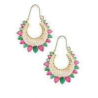The Jewelbox Red Green Pearl Gold Plated Chaand Bali Earring