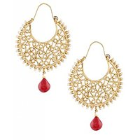 The Jewelbox Gold Plated Filigree Pearl Ruby Red Chaand Bali Earring