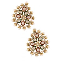 The Jewelbox Red Green Meena Kundan American Diamond Pearl Gold Plated Earring