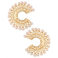 The Jewelbox Filigree Pearl Chaand Baali Bright Gold Plated Indo-Western Earring