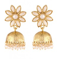 The Jewelbox Pearl Gold Plated Flower Cute Ethnic Traditional Jhumki Earring