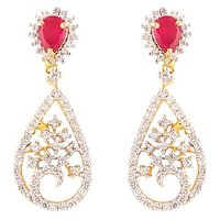 The Jewelbox Delicate American Diamond Ruby Red Dangling Rhodium Plated Earring