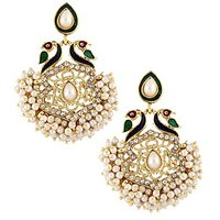 The Jewelbox Peacock Mayur Meenakari Pearl Gold Plated Chaand Bali Earring