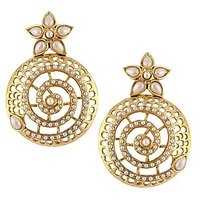 The Jewelbox Large Pearl Gold Plated Filigree Jaali Chakra Jhumki Earring