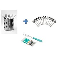 Buy Stainless Steel Spoon Stand & Get 12pcs Spoons & Fruit Fork Free