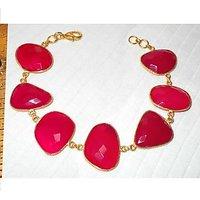 Fancy Design Gold Plated Pink Hydro Glass Gemstone Bracelet ABJBY990F
