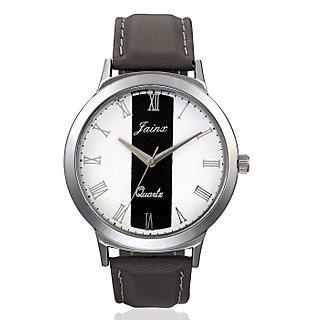 Jainx Mens Grey Genuine Leather Analouge Watch