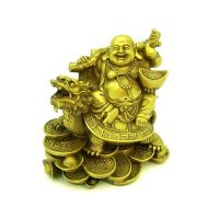Laughing Buddha Sitting On Dragon Tortoise For Good Luck(Buy 1 Get 1 Free)
