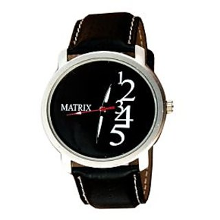 MATRIX MEN'S BLACK DIAL BLACK LEATHER STRAP WATCH