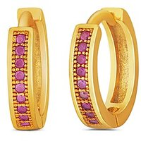 Mahi Gold Plated Medium Single Line Red CZ Stone Huggies Hoops Earrings For Women ER1109312G