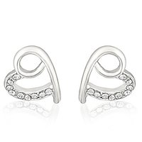 Mahi Rhodium Plated Peppy Heart Earrings With White Crystals For Women ER1191762RWhi