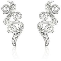 Mahi Rhodium Plated Intricate Curl Earrings With White Crystal For Women ER1191765RWhi