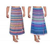 JBG Home Store 100% Cotton Stripes Design Bath Towels( Set Of 2)