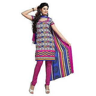 Fabdeal White, Black & Pink Colored Leon Printed Dress Material