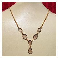 Designer Fashion Gold Plated Necklace With Smokey Quartz Cut Gemstone.ABGNY997B