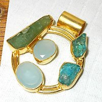 Fashion Gold Plated Pendant With Apatite, Green Fluorite, Rough Stone.ARBJY978C