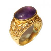 Amethyst Cab Gemstone Designer Rintg With Gold Plated Over Brass.ABSRY867J