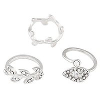 Young & Forever Silver Leaf Shaped Diamante Midi Ring Set (Set Of 3)