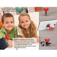Heart Shape Vacuum Mobile Holder With Earphone Splitter - E97