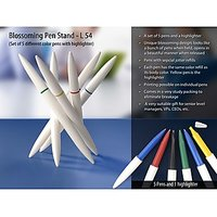 Blossoming Pen Stand (Set Of 5 Different Color Pens With Highlighter)