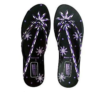 STEEL Women's PU Slipper Black-Purple (PL-083)