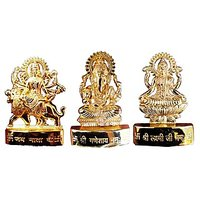 24 Carat Ganesh Laxmi Durga Gold Plated Idol - 3 Inches