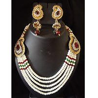 Indian Bollywood Faux Pearl Beautiful Moghal Necklace Set Earrings Party Wear
