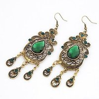 Ramleela Inspired Beautiful Green Stone Antique Finish Earrings By Optionsz - On