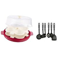 Ni Marketing Combo Of Microwave Idli Maker With 2 Plates With Kitchen Tool Set Of 6 Pcs.