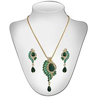 Panini Contemporary Green Chain Pendant Set For Women_2795