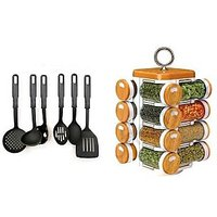 Ni Marketing Combo Of Kitchen Tool Set Of 6 Pcs With 16 In 1 Kitchen Spice Jar 1 Pc.