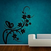 Decor Kafe Butterfly On Branch Wall Decal (14x16 Inch)