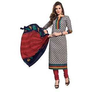 Dfolks Womens Cotton Printed Greysalwar(Unstitched)Df0166