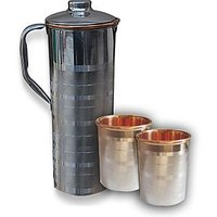 AsiaCraft Stainless Steel Copper Fridge Bottle With 1 Glass Set