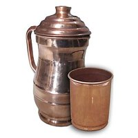 AsiaCraft Pure Copper Jug With Borosil Glass Set