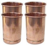 AsiaCraft Pure Copper Handmade Glasses Tumblers, Set Of 4