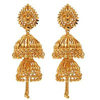 Gold Plated Double Jhumka Earrings By Goldnera