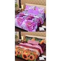 COMBO OF TWO 3D BED SHEETS AND 4 PILLOW COVER