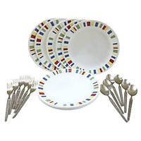 Corelle-Memphis Dinner Plates-Set Of 6 Fork/Spoon/Plates