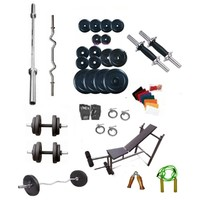 Dreamfit 70Kg Adjustable Grip Dumbell Rubber Plates+4 Rods (1 Curl)+5 In 1 Bench+Skipping Rope+Gym Gloves+Wrist Band+Wooden Hand Grip