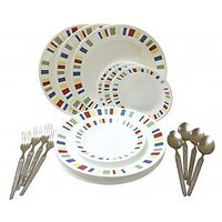 Corelle-Memphis Dinner/Quarter-Set Of 4 Fork/Spoon/Plates