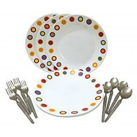 Corelle-Hot Dot Dinner Plates-Set Of 4 Fork/Spoon/Plates