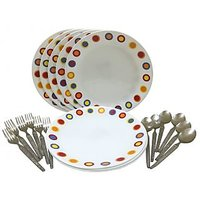 Corelle-Hot Dot Dinner Plates-Set Of 6 Fork/Spoon/Plates