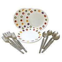 Corelle-Hot Dot Quarter Plates-Set Of 4 Fork/Spoon/Plates