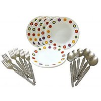 Corelle-Hot Dot Quarter Plates-Set Of 6 Fork/Spoon/Plates